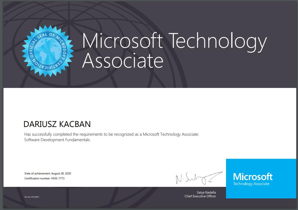 Dariusz Kacban Certyfikat