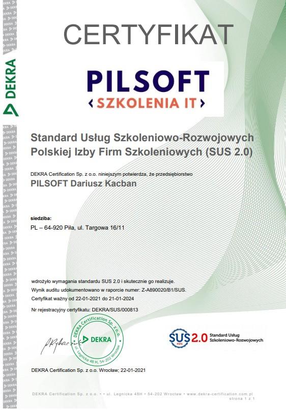 PILSOFT Dariusz Kacban Certyfikat Standard Usług Szkoleniowo-Rozwojowych