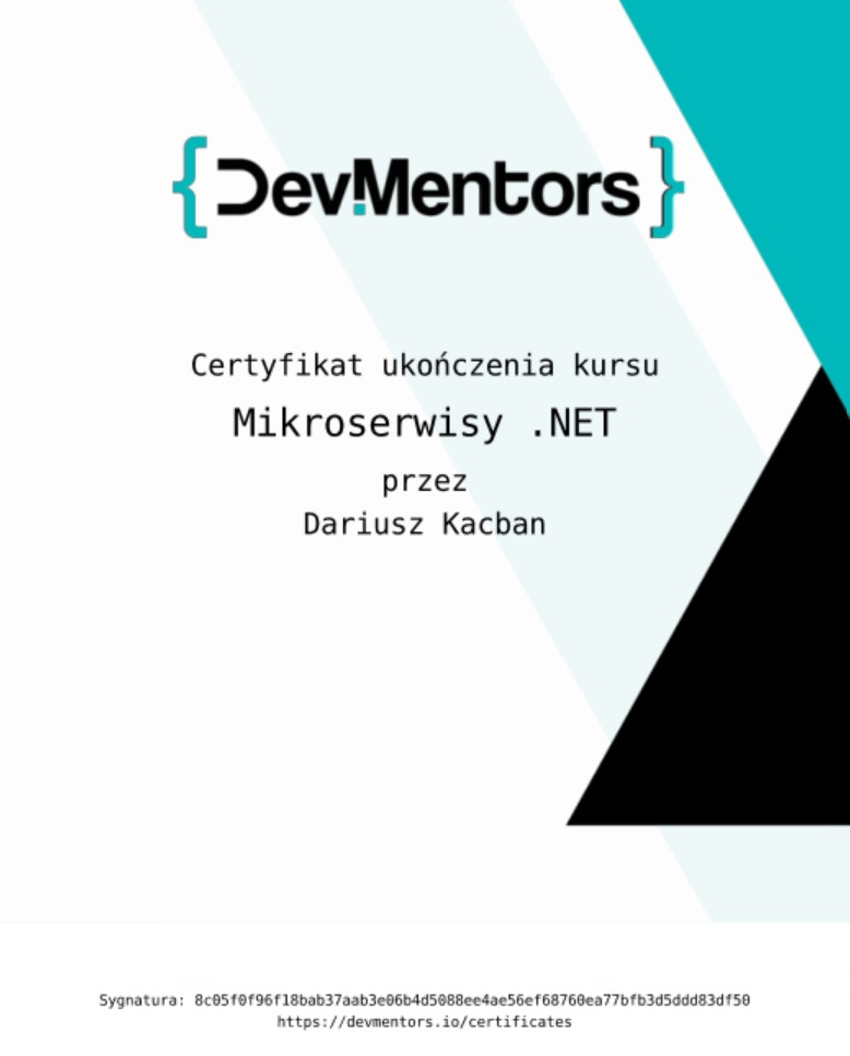 Mikroserwisy .NET Dariusz Kacban certyfikat